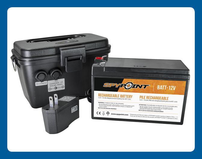 Ensemble pile rechargeable Spypoint 12V, Chargeur & Boîtier