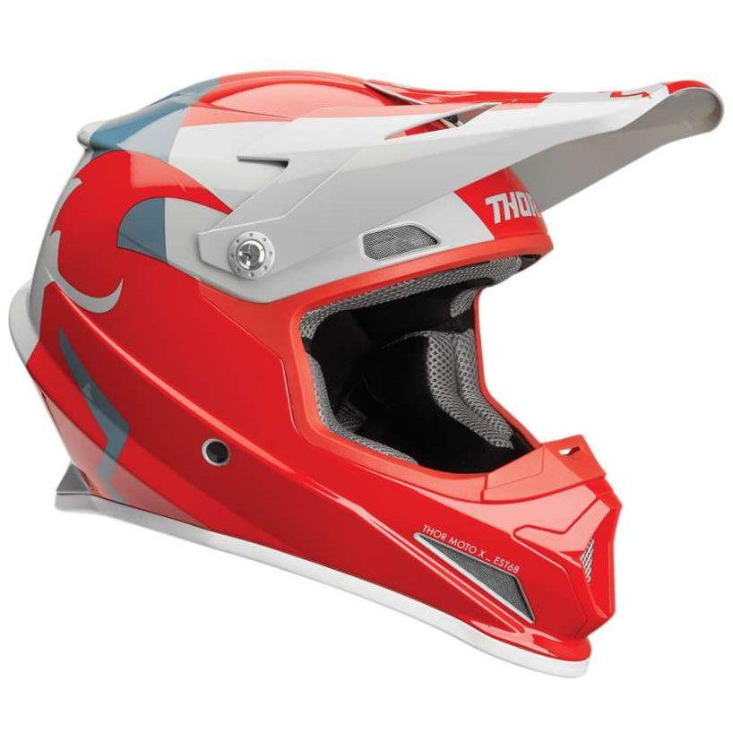 CASQUE CROSS THOR SECTOR SHEAR ROUGE GRIS PALE