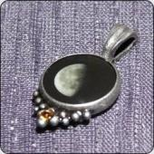 Regular pendant with birth stone - pewter - CHRISTMAS SPECIAL