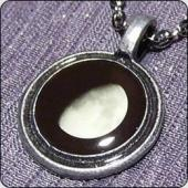 Necklace with large pendant - pewter